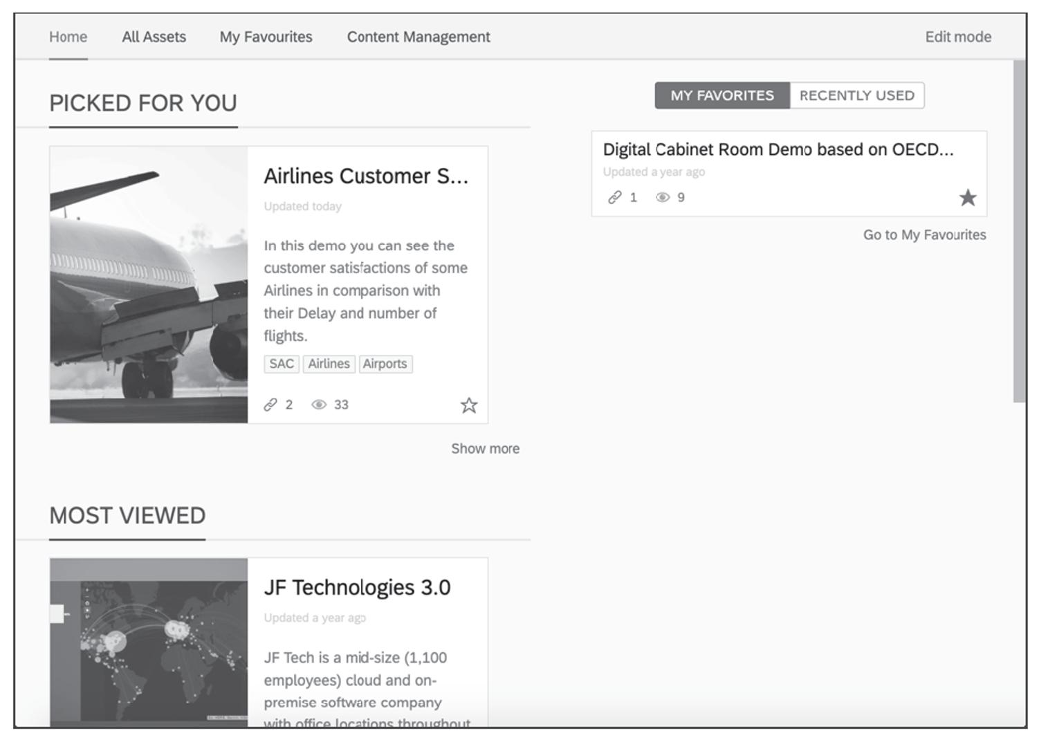 SAP Analytics Hub Homepage