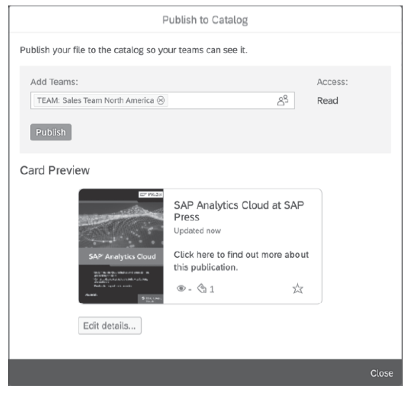 Add Asset to SAP Analytics Catalog